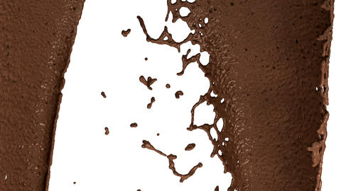 Hot chocolate or cocoa drink slow motion flow and splashes, alpha Animation