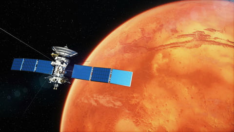 Beautiful realistic satellite in low Mars orbit Animation