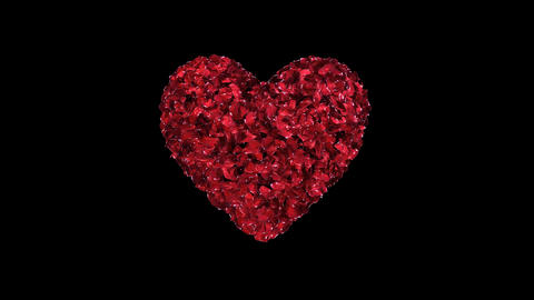 Fixated heart animation of red rose petals Animation