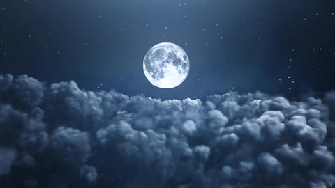 Night moon over the clouds Animation