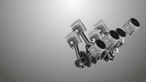 Animated pistons coated with 3D mesh on a gray background Image