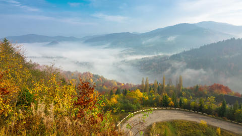 Autumn. Misty Morning in the Mountains ビデオ