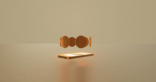 Golden bitcoins appear from the smartphone. Concept Animación