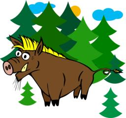 cartoon brown wild boar with yellow bang in the middle of green Vektorgrafik