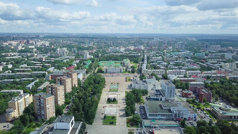 View of the central square and Cathedral of the Holy Archangel Michael. Izhevsk, Footage