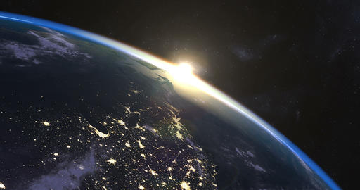 Beautiful sunrise over Earth Animación