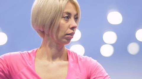 Caucasian blonde play tennis in slowmotion Footage