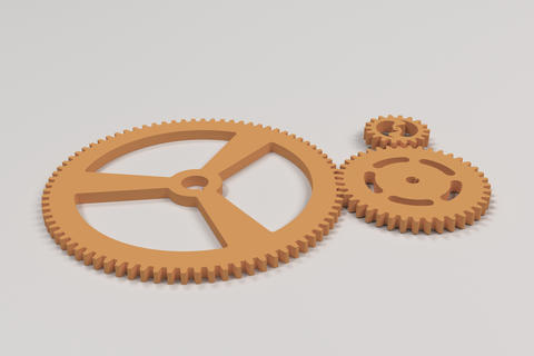 Set of orange gears and cogs on white background Foto