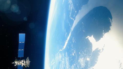 Beautiful realistic satellite in low Earth orbit Image
