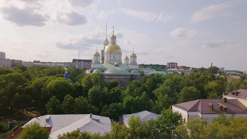 The Penza Savior Cathedral. Penza, Russia, From Dron, Unveiling shot Footage