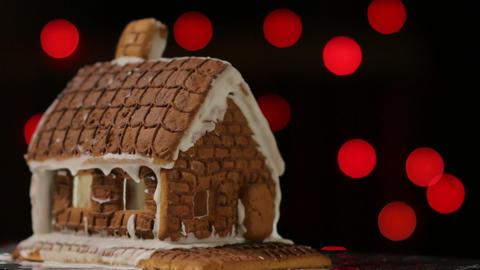 Ginger Bread House Colorful Lights Bokeh Image