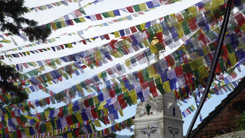 Prayer flags fluttering in the wind Footage