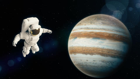 Astronaut in outer space is flying over the planet Jupiter Animation