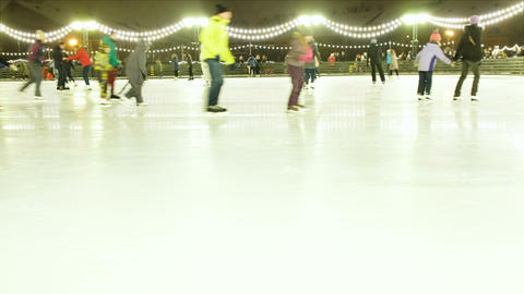 People skate outdoors on skates on ice, 4K Live Action