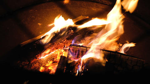 Burning firewood, relaxation, look at the fire, slow motion Footage