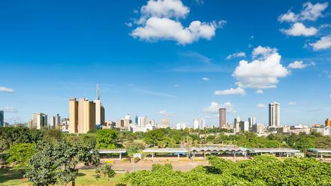 Panning Nairobi Skyline And Uhuru Park Timelapse, Kenya in 4K Footage
