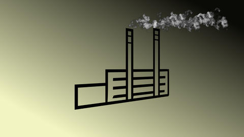 Detail of pollution coming from factory smoke stacks Animation
