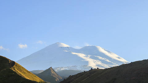 Mount Elbrus in the light of the setting sun. Russia Footage