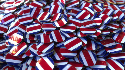 Pile of badges featuring flags of Costa Rica Live Action