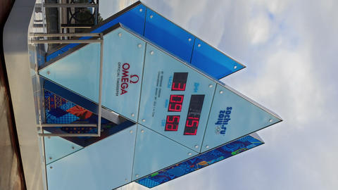 Vertical video. Olympic Clock Games in Sochi 2014. Time Lapse Footage