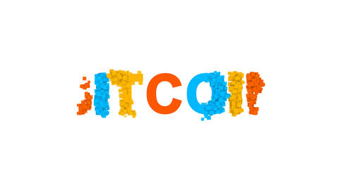 crypto currency name BITCOIN from letters of different colors appears behind Animation