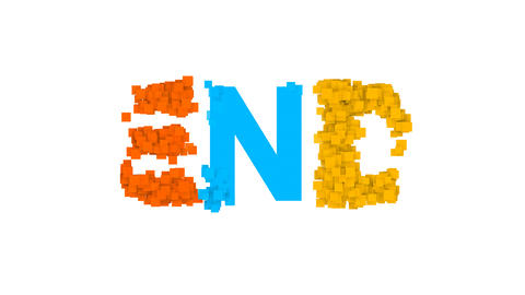 text END from letters of different colors appears behind small squares. Then Animation