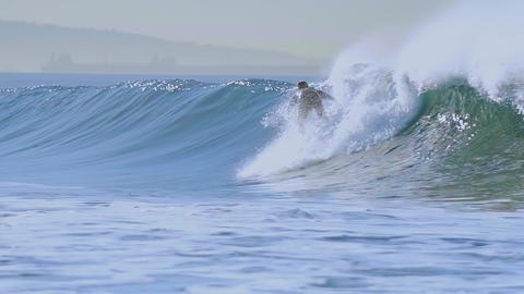 Surfing and big waves slow motion Footage