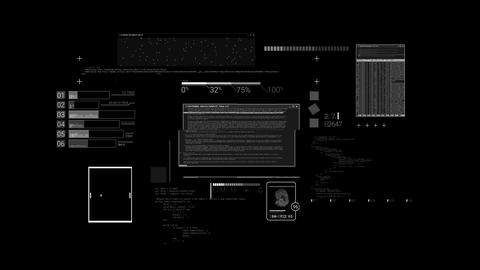 Hacker textures, elements of code and interface on the alpha channel Animation
