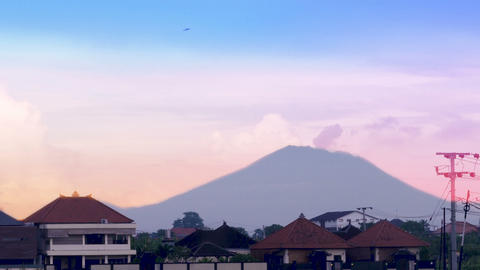 Time lapse of Mount Agung spewing volcanic ash and smoke from an active volcano Footage