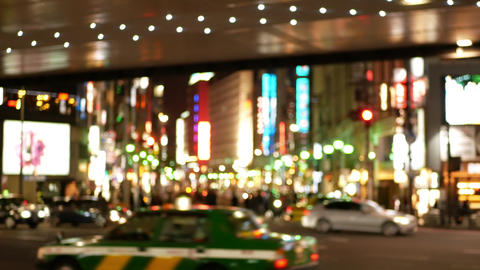 Soft focus - Night view of downtown area of Roppongi intersection 영상물