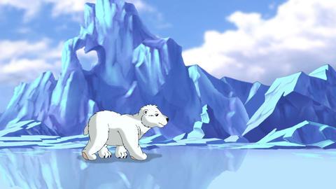 Little White Polar Teddy Bear in Arctic Animation
