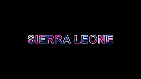 Letters are collected in country name SIERRA LEONE, then scattered into strips Animation