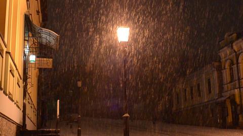 Heavy Night Snow Footage