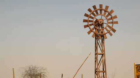 Windmill in the desert Footage