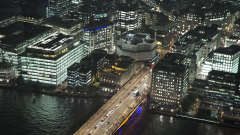 London Bridge aerial view from The Shard - LONDON, ENGLAND Live Action
