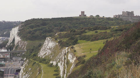 The White cliffs of Dover and Dover castle Footage