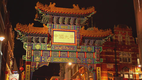 Huge Entrance gate to London Chinatown Footage