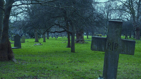 RIP crucifix on a cemetery at dawn Footage