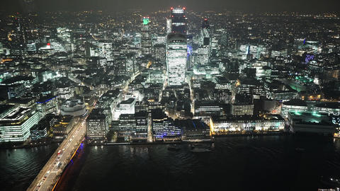The City of London by night spectacular aerial view - LONDON, ENGLAND Live Action