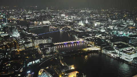 Spectacular aerial view of London by night - LONDON, ENGLAND Live Action