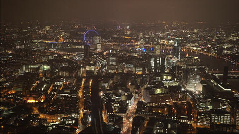 London by night amazing aerial shot - LONDON, ENGLAND Live Action