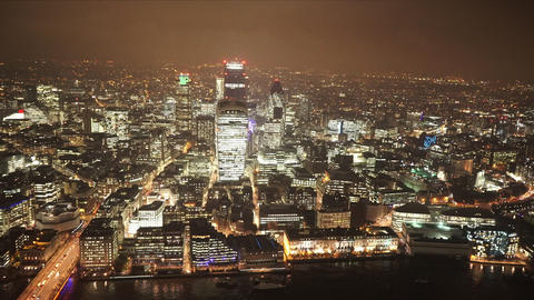 Misty London by night spectacular aerial shot - LONDON, ENGLAND Live Action