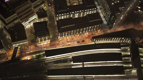 Street traffic and railway at London Bridge station from above - LONDON, ENGLAND Live Action