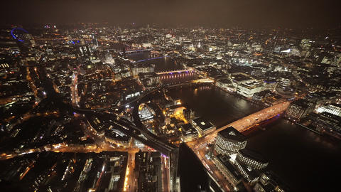 Wide angle shot of London by night amazing view - LONDON, ENGLAND Live Action