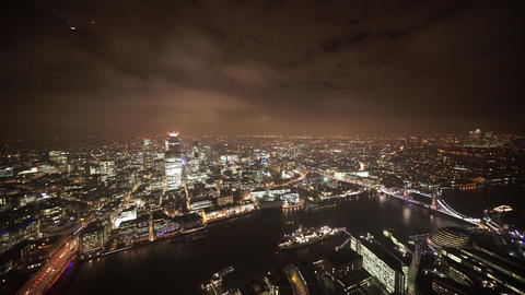 Cloudy sky over London by night - aerial view - LONDON, ENGLAND Live Action
