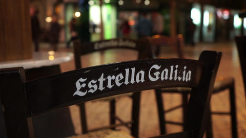 Chair in a Spanish tapas bar in Malaga Live Action