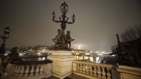 Most Beautiful in Paris bridge over River Seine called Pont Alexandre III Footage