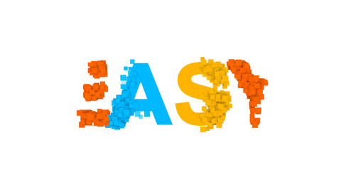 text EASY from letters of different colors appears behind small squares. Then Animation