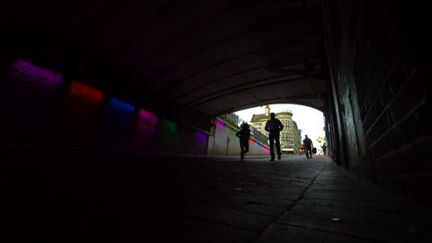 Tunnel under brighton station lit up with multi coloured lights ビデオ