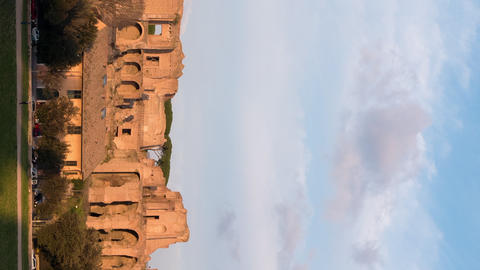 Vertical video. Ruins of the Palatine Hill is the centermost of the Seven Hills. Live Action
